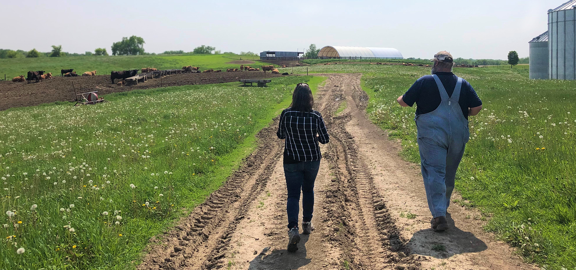 Two people walking down a dirt road in the countryside